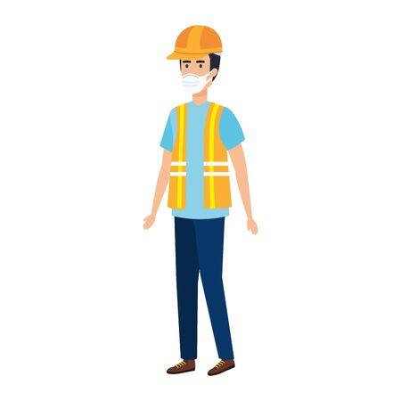 man worker using face mask isolated icon vector illustration design Vektoros illusztráció