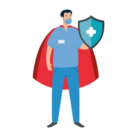 super male paramedic with shield and hero cloak vector illustration design