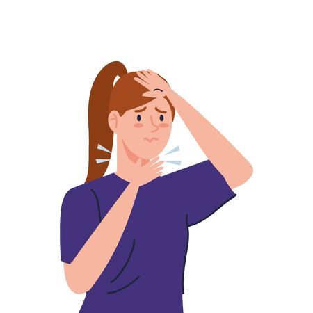 woman with sore throat sick of covid 19 vector illustration design