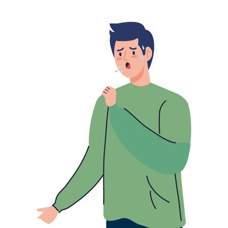 man with cough sick of covid 19 vector illustration design Vectores