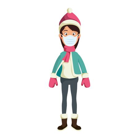 young woman wearing winter clothes using face mask vector illustration design Vettoriali