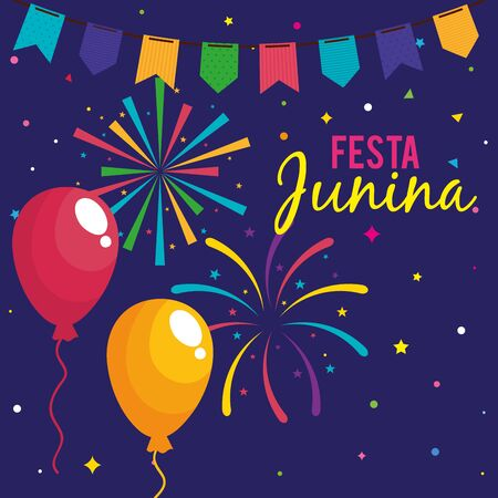 festa junina poster with balloons helium and decoration vector illustration design