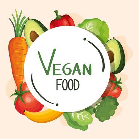 vegan food poster with set of vegetables vector illustration design Çizim