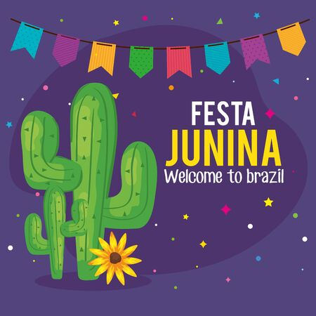 festa junina poster with cactus and garland hanging vector illustration design Vectores
