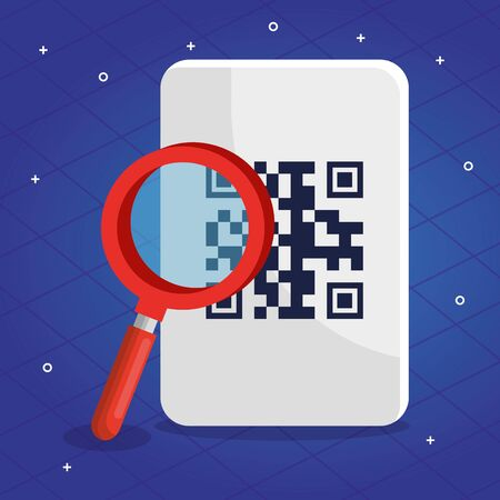 qr code over receipt and lupe design of technology scan information business price communication barcode digital and data theme Vector illustration