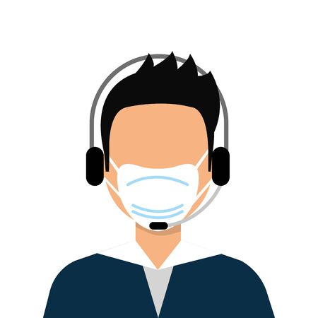 man agent call center with face mask vector illustration design Vetores