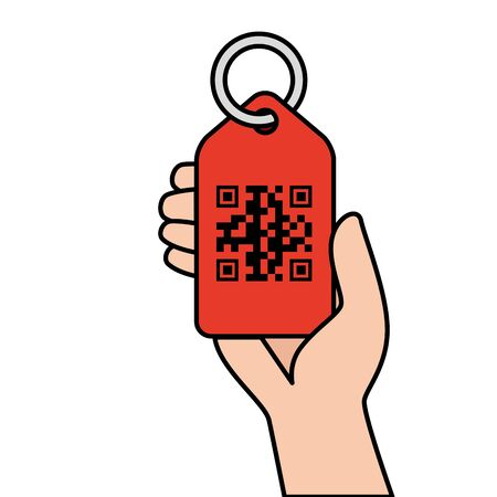 qr code over label and hand design of technology scan information business price communication barcode digital and data theme Vector illustration