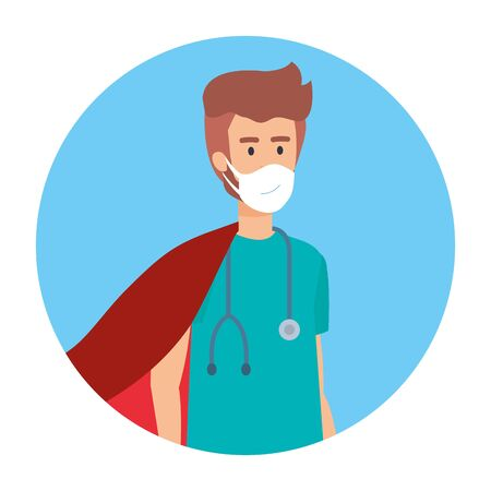 super male paramedic with face mask and hero cloak vector illustration design Illustration