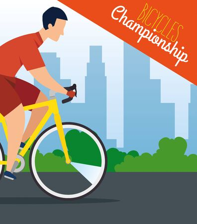 bicycles championship poster with man in bike vector illustration design