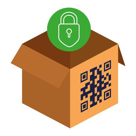 qr code over box and padlock design of technology scan information business price communication barcode digital and data theme Vector illustration