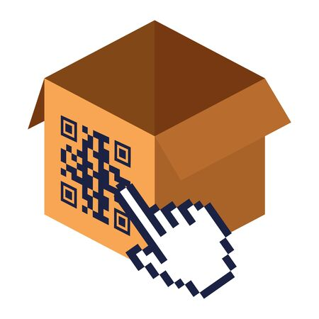 qr code over box and cursor hand design of technology scan information business price communication barcode digital and data theme Vector illustration