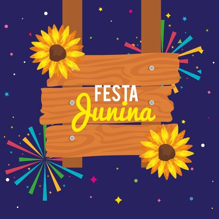 festa junina poster with sunflowers and decoration vector illustration design Vectores
