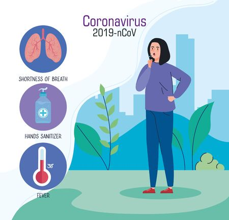 coronavirus 2019 ncov infographic with woman sick and icons vector illustration design