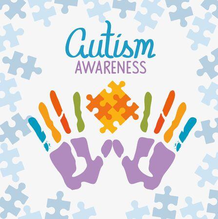 world autism day with handprints vector illustration design