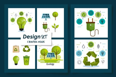 six designs of friendly and recycle icons vector illustration design