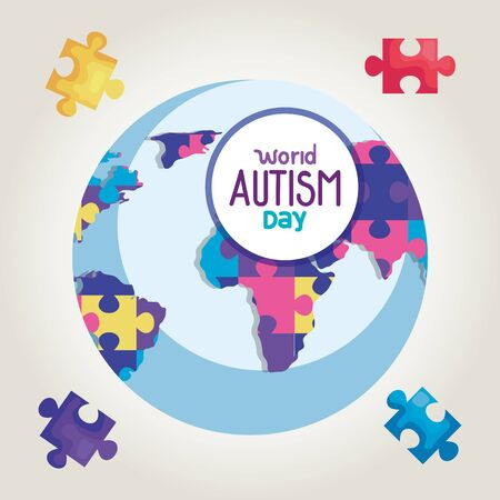 world autism day and world planet vector illustration design