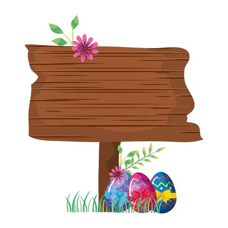 sign way wooden with eggs easter and flower vector illustration design