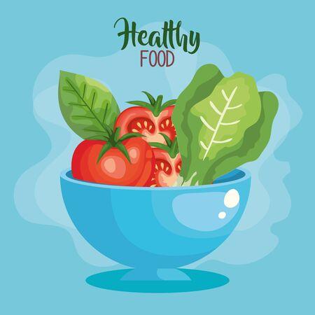 vegan food poster with bowl and vegetables vector illustration design