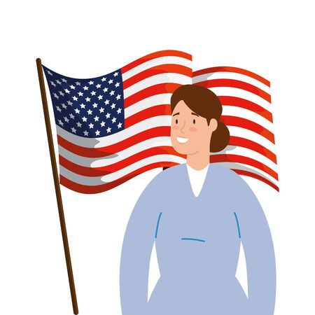 female paramedic with face mask and flag usa vector illustration design