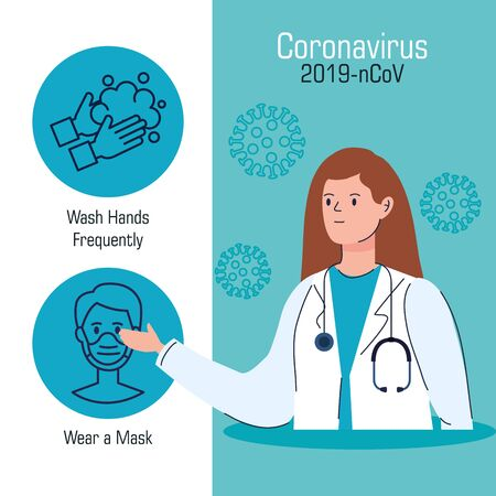 doctor female with set of recommendations for covid 19 vector illustration design