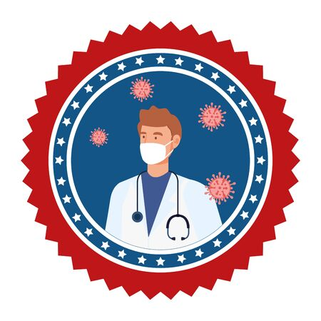 doctor male with face mask in frame circular vector illustration design Vettoriali