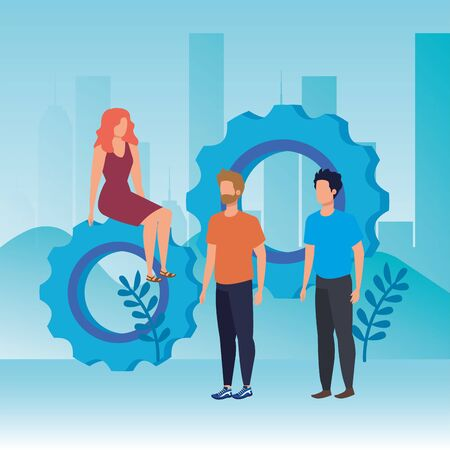 group of people with gears characters vector illustration design Vettoriali