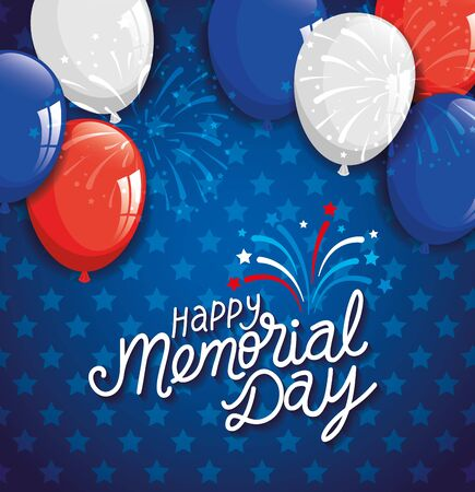 happy memorial day with decoration of balloons helium vector illustration design Vectores