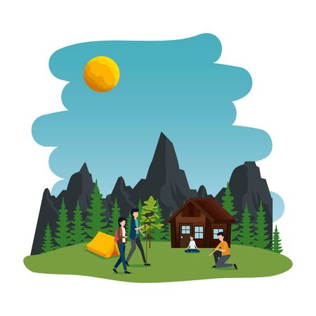 young people in the camping zone vector illustration design Illustration