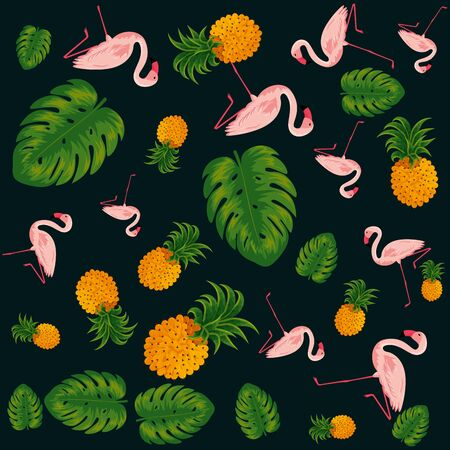 tropical pineapples with leafs and flemish pattern vector illustration design Stockfoto - 145428121