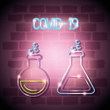 tubes test for covid 19 of neon light vector illustration design Vectores
