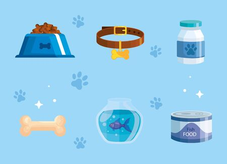 bundle of pet shop icons vector illustration design Vettoriali