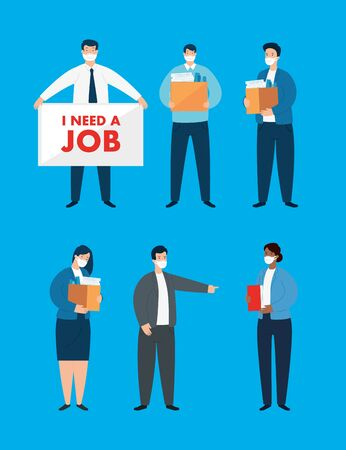 group of business people searching work vector illustration design