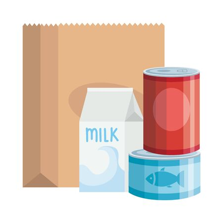 food in can with box milk isolated icon vector illustration design