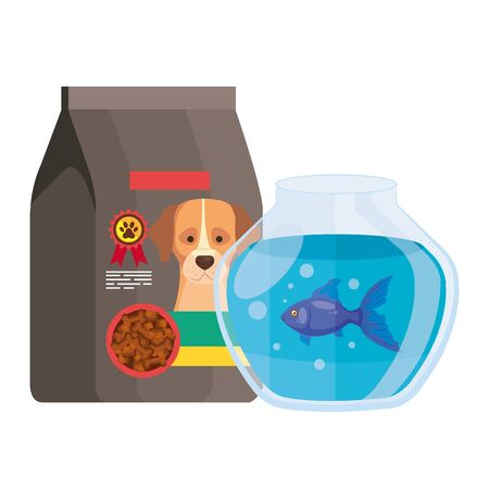 food for dog in bag and round glass fish bowl vector illustration design