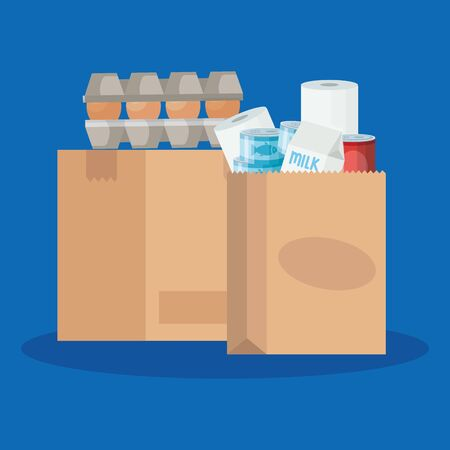 bag paper and box carton with excess groceries vector illustration design