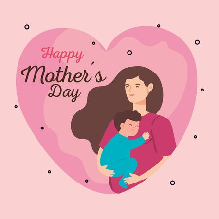 happy mother day card with woman pregnant carrying baby boy vector illustration design
