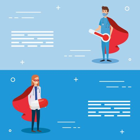 set banner with super male paramedic and doctor female vector illustration design