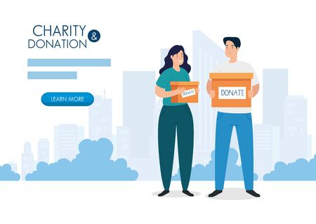 banner with couple and box of charity donation vector illustration design