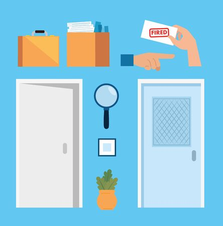 set of doors closed with icons of fired vector illustration design