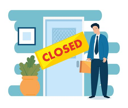 businessman unemployed crying for closed company vector illustration design