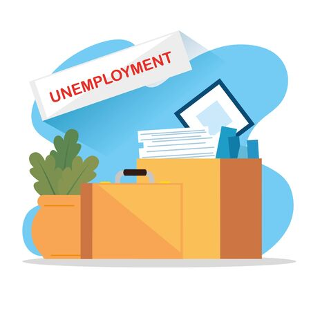 boxes with objects of unemployed vector illustration design
