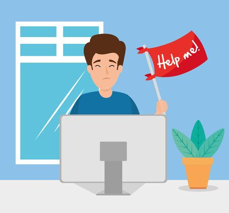 man with stress attack asking for help vector illustration design Çizim
