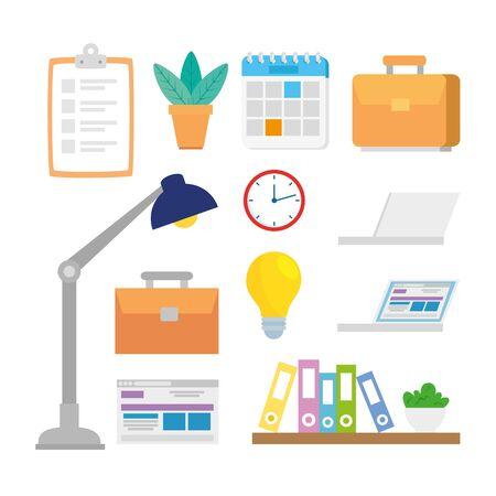 bundle of office set icons vector illustration design