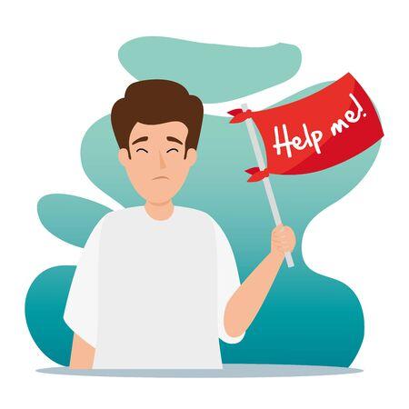 man with stress attack asking for help vector illustration design