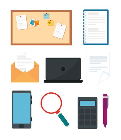 smartphone with icons of office vector illustration design