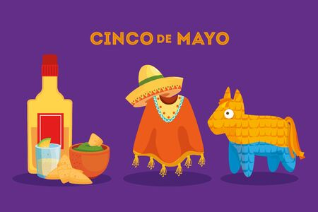Mexican tequila bottle poncho hat and pinata design, Cinco de mayo mexico culture tourism landmark latin and party theme Vector illustration Illustration