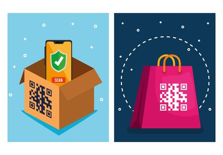 qr code over shopping bag box and smartphone design of technology scan information business price communication barcode digital and data theme Vector illustration