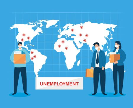 business people unemployment for covid 19 pandemic vector illustration design