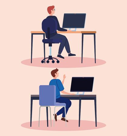 young men with computer in desk vector illustration design