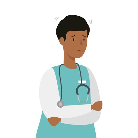 male afro paramedic with stethoscope isolated icon vector illustration design Vettoriali